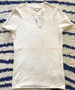 NWT J Crew Cashmere Women Cream T Shirt Short Sleeve Sweater XXS