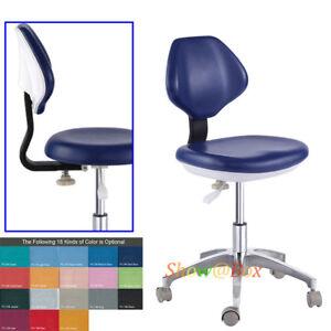 Adjustable Mobile Dental Lab Chair Dentist Medical Nurse Doctor Stool PU Leather