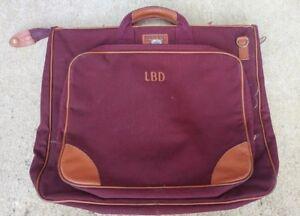 Vintage Lands End Deluxe Square Rigger Canvas Leather Garment Bag Burgundy USA