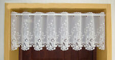 New Beautiful White Rose Embroidery Cutwork Sheer Cafe Curtain 150CM