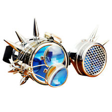 Steampunk Safety Goggles Silver Metal Magnifying Lab LED Glasses