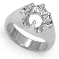 Men's 14k Solid White Gold Six-Prong Setting Heavy Ring #R2010 size 5 to 14