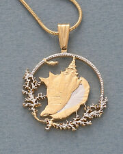 "Conch Shell Pendant, Hand Cut Bahamas Conch Shell Coin, 1-1/8"" wide ( # 19B )"