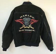 Harley Davidson Motorcycles Black Suede Leather Jacket WING Motor Logo Lined L