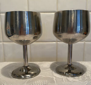 Retro 1960s Stainless Steel Wine Goblets