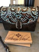 $179 PATRICIA NASH Lanza Tooled Turquoise Leather Crossbody & Wristlet NWT!