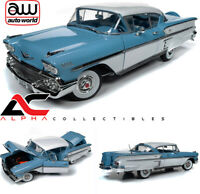 AUTOWORLD AMM1216 1:18 1958 CHEVROLET IMPALA BLUE / WHITE TWO TONE