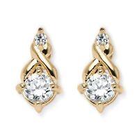 2.62 TCW White Cubic Zirconia Earrings in Yellow Gold Tone