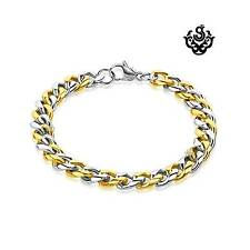 Silver gold classic chain bracelet stainless steel 215mm long 9mm wide