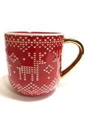 New listing Threshold Brand Red Stoneware Reindeer & Hearts Christmas Sweater Coffee Mug Cup