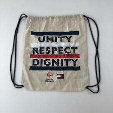 Tommy Hilfiger Special Olympics Fabric Backpack Bag Sack Unity Respect Dignity