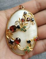 Vintage Costume Gilded Pendant Mother of Pearl Shell Sapphire Emerald and Garnet