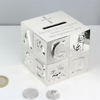 Personalised Silver Plated ABC Money Box Birthday baby Christening Gift Cross