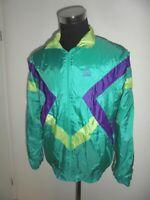 vintage 80`s ACTIVE Nylon Jacke Trainingsjacke sport glanz neon oldschool XL (L)