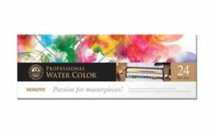 Mungyo Gallery Artists' Watercolor Pan Set 24 Assorted Colors Half Pan MWPH-24