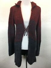S11 Free People Sz M Wool Blend Black Red Chunky Tie Front Cardigan Sweater Belt