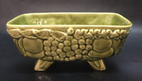 Vintage Unmarked Ceramic Green Footed Planter With Fruit Design