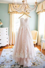 A-Line White/Ivory/Pink Lace Bride Wedding Dress Bridal Gown Custom Size 4-26+