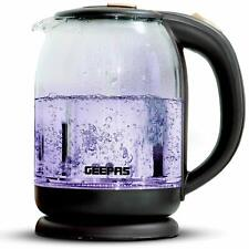 Geepas Illuminated Glass Kettle Cordless Electric Jug Non-Slip 1.8L Blue Led