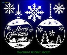 CHRISTMAS STICKERS 2 BALLS 3 SNOWFLAKES REUSABLE HOME SHOP WINDOW DECORATIONS +