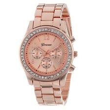 Faux Chronograph Quartz Classic Round Ladies Women Crystals Watch Rose Gold