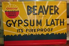 Beaver Gypsum Lath Embossed Metal Sign Advertising Vintage NM Advertisement