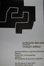 Chillida Eduardo affiche en lithographie 1972 Art Abstrait Pays basque espagnol