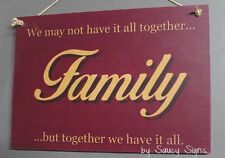 Family Together Mum Dad Brother Sister Love Shabby Rustic Wooden Timber Sign