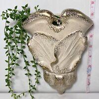 Vintage Ceramic White & Gold Pottery Flower WallPocket Planter Vase 3D EUC