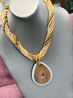"""Vintage Bohemian Twisted Chain Wood Beaded Chain Teardrop Pendant Necklace 16"""""""