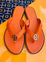Tory Burch NIB Benton Thong Flat Sandals Leather Logo Orange Juice MANY SIZES