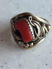 Navajo Indian Jewelry Silver Red Turquoise Ring 12KGF STERLING HANDMADE BY LARRY