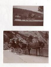 PHOTO ANCIENNE - Voiture à cheval Attelage Groupe Chapeau - Vers 1900 Transport