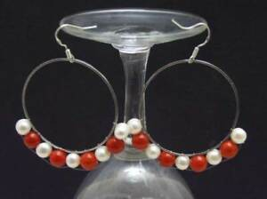 6mm Red Coral White Pearl Earring for Women with 40mm Metal Ring Dangle Earring
