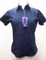 Henbury ladies Navy short sleeve classic cotton Oxford shirt Size M UK 10-12 NEW