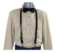 2 Piece Set: Black Leather Skinny Suspenders w/Trigger Snaps and Leather Bow Tie