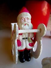 Vintage Celluloid Santa Claus Sitting For Sleigh Or Shelf Sitter Xmas Ornament
