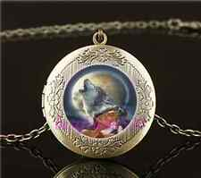 Vintage Woman,Wolf,Moon Photo Cabochon Glass Brass Locket Pendant Necklace