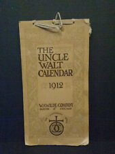 UNCLE WALT 1912 CALENDAR, CLOTH COVER, WITH STORIES & PROSE, 106 YEARS OLD!