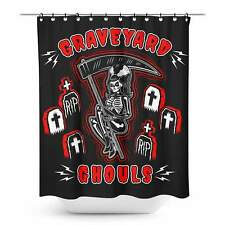 Sourpuss Graveyard Ghouls Shower Curtain Retro Gothic Punk Horror Homewares