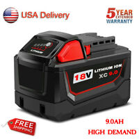 For Milwaukee M18 M18B 18V 18 Volt Lithium High Demand XC 9.0Ah Battery Cordless