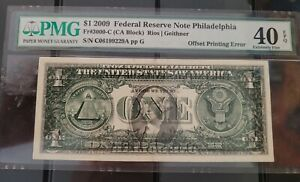 """United States  2009  One Dollar Banknote """"Error"""" Offset Printing Front to Back"""