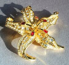 Nolan Miller Gold Tone Lilly With Rhinestones Pin Brooch Needs To Be Fixed