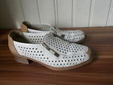Chaussures basse derby mocassin à enfiler cuir blanc à trous RIEKER 6 39