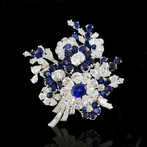 Blue White Flower CZ 925 Sterling Silver Handmade Unisex Fine Spray Brooch Pin