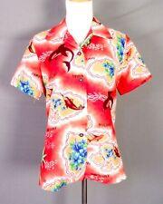 vtg 50s 60s Hookano rare Women's Hawaiian Shirt Blouse Top Painted Look tiki 14