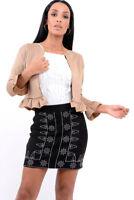 Ladies Women Ruffle Frill Long Sleeve Open Front Coat Blazer Peplum Crop Jacket