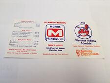 Waterloo Indians 1986 Minor Baseball Pocket Schedule - Morris Printing/KFC