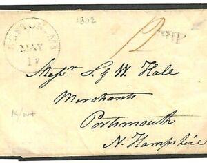 America (USA) 1802 MARITIME Boston *SHIP* Cover Portsmouth New Hampshire S123