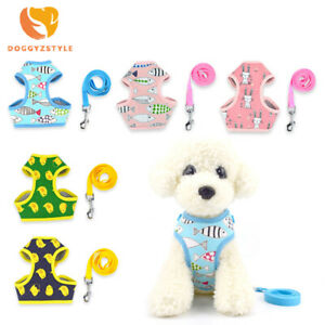 Small Pet Dog Harness Leash Set Cartoon Nylon Breathable Mesh Puppy Cat Dog Vest